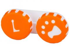 Estuche de lentillas con huella - naranja