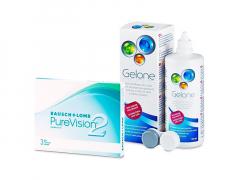 PureVision 2 (3 lentillas) + Líquido Gelone 360 ml
