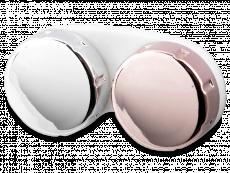 Estuche para lentillas con acabado brilloso - rosa / plateado