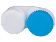 Estuche de lentillas azul y blanco L+R
