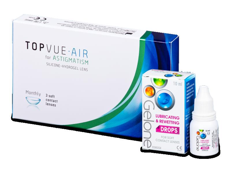 TopVue Air for Astigmatism (3 Lentillas) + Gotas Gelone 10 ml
